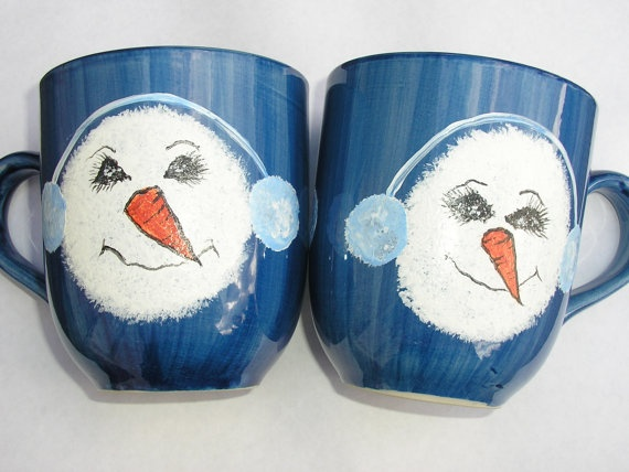Painted Snowman Cups Hand Painted Snowman by LisasPaintedCrafts