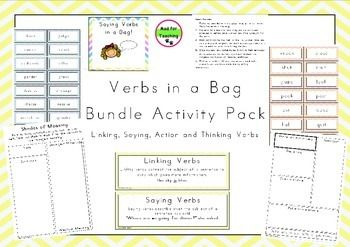 This is a bundle pack with activities focusing on the four main types of verbs; linking, saying, thinking and action verbs. The bundle includes:1. Action Verbs in a Bag2. Saying Verbs in a Bag3. Thinking, Feeling and Perceiving Verbs in a Bag4. What's That Verb?