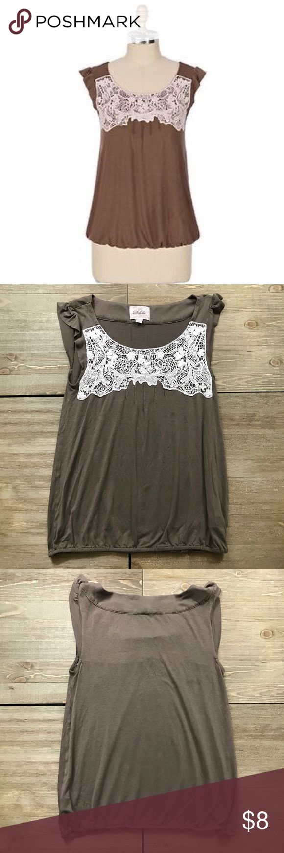 🐿 Anthropologie Deletta Then & Now Tank Top Deletta from Anthropologie. Then & Now tank top. Brown witch cream crochet detailing on the bust. Ruched elastic band at the bottom. Loose fit. There is a spot on it as shown. Anthropologie Tops Tank Tops