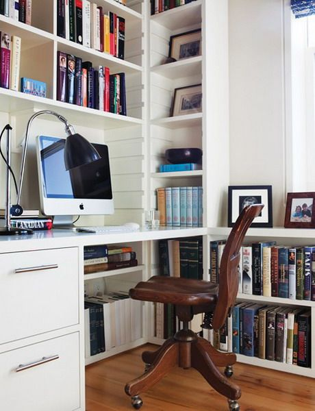 love this idea for making an office nook out of a corner