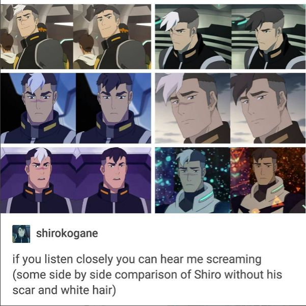 Shiro with and without his scar and white hair
