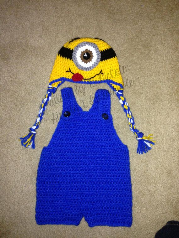 Minion Hat and Overall Short Set - Crochet Pattern 113 - US and UK Terms - Ne...