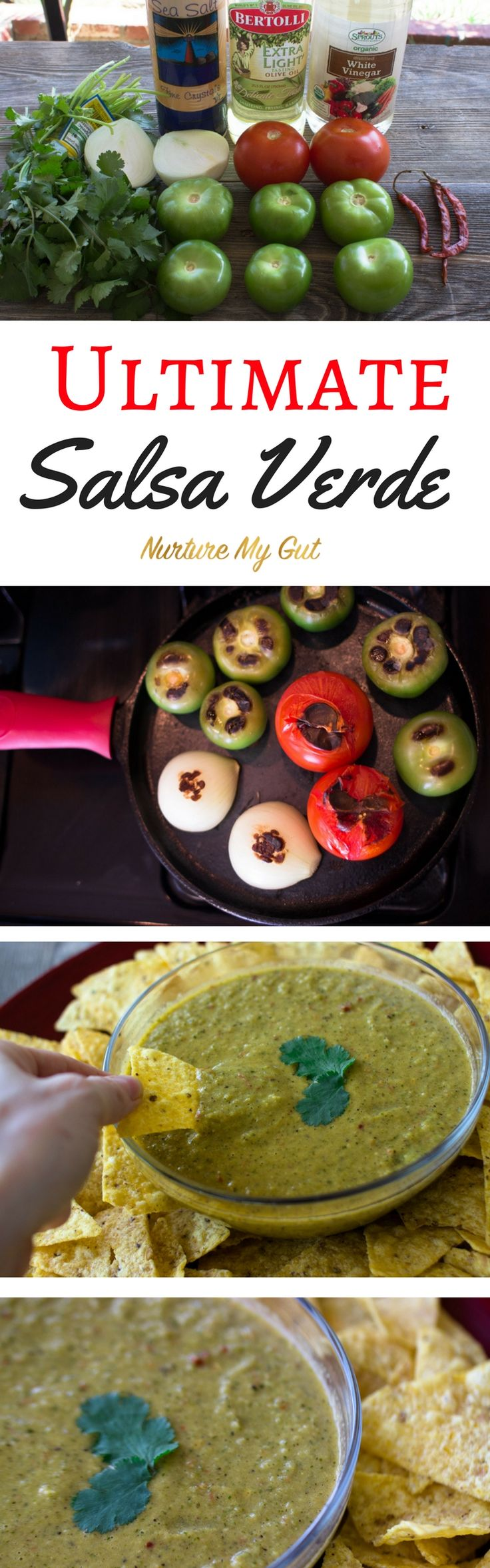 This Ultimate Salsa Verde Recipe adds the perfect kick to carne asada tacos, burritos and corn chips.  It is easily roasted in a cast-iron skillet and blended to perfection.  The combination of tomatillos and vine-ripened red tomatoes balances the flavors in this tangy salsa.  Perfect for game day!