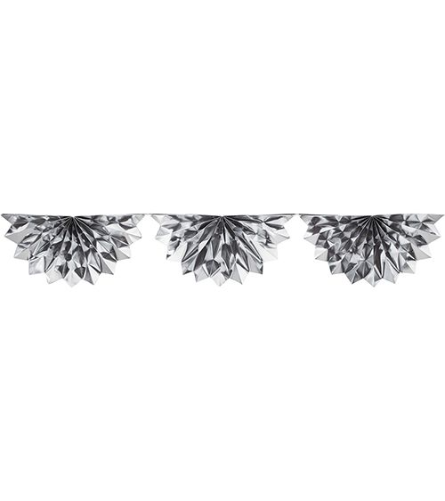 Folien-Papierfächer-Girlande - silber - 1,98 m