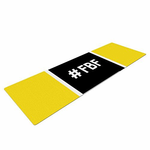"KESS InHouse Original Flash Friday Yoga Exercise Mat, 72"" x 24"", Black/Yellow"