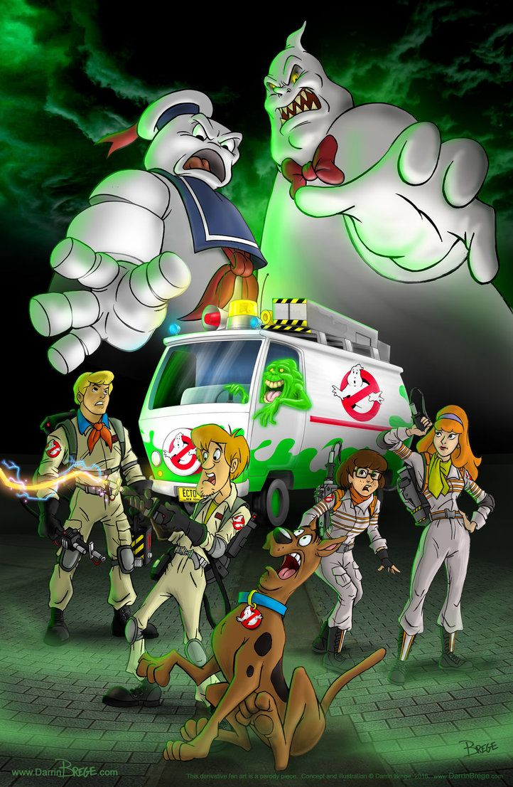 Here's an illustration mashing up Ghostbusters with Scooby Doo. Also in the mix is the Ecto 1 mashed with the Mystery Machine. Fred and Shaggy in the vintage outfits...Velma and Daphne ...