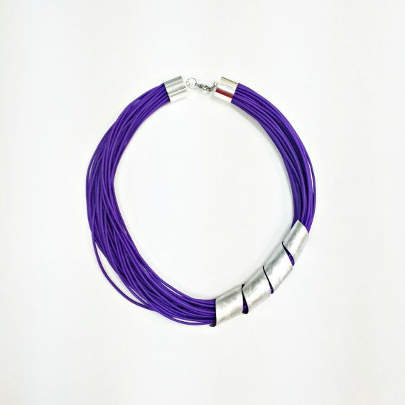 Purple statement necklace Spiral necklace Popular necklace