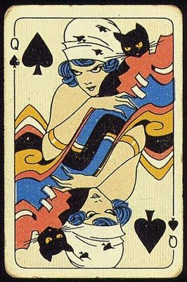 The Queen of Spades... with her black cat.