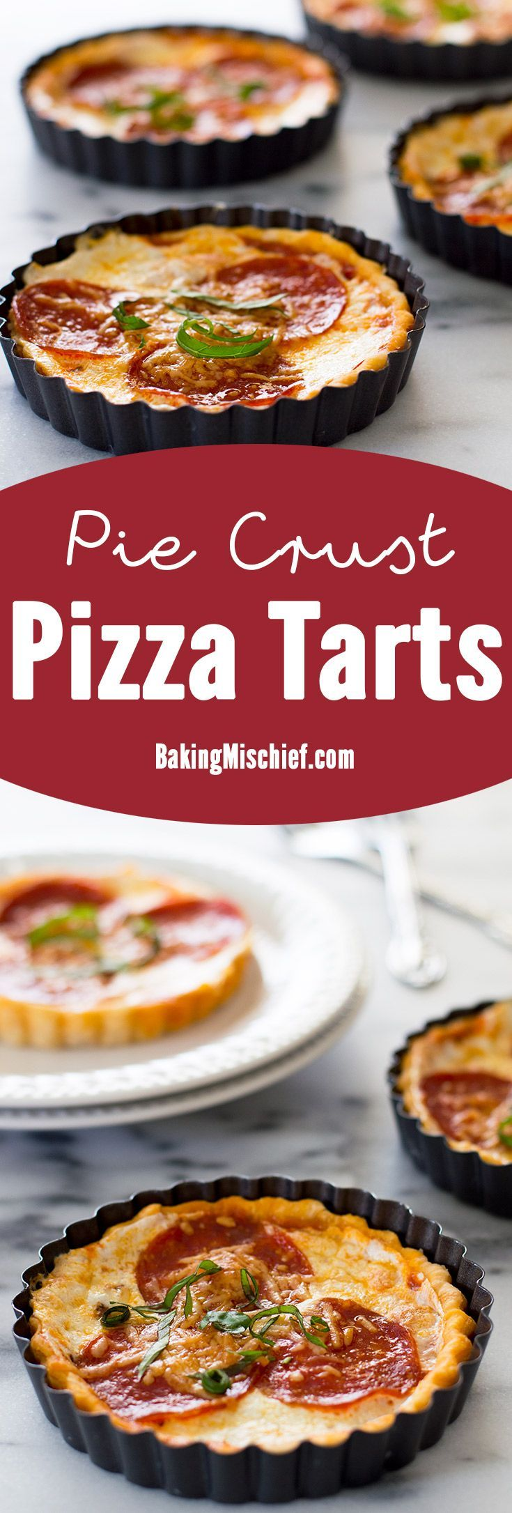 The cutest mini pizza tarts baked in a delicious buttermilk pie crust tart shell. Recipe contains nutritional information. From http://BakingMischief.com