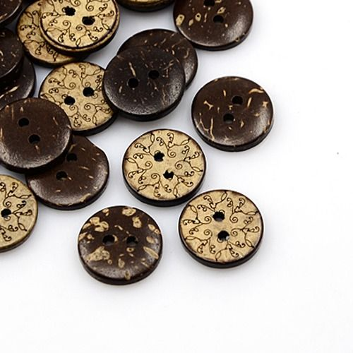 Coconut Buttons, 2-Hole, Flat Round with Paisley, Coconut Brown,