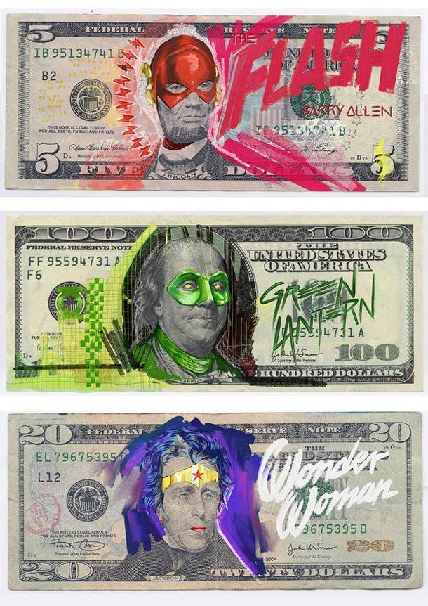 """""""Justice League Of America"""", ou les billets de banque américains revus à la sauce super héros par l'artiste allemandAslan Malik"""