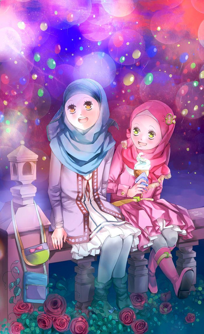 Happy Muslim Girls on Eid Day (Manga & Anime Style Drawing)