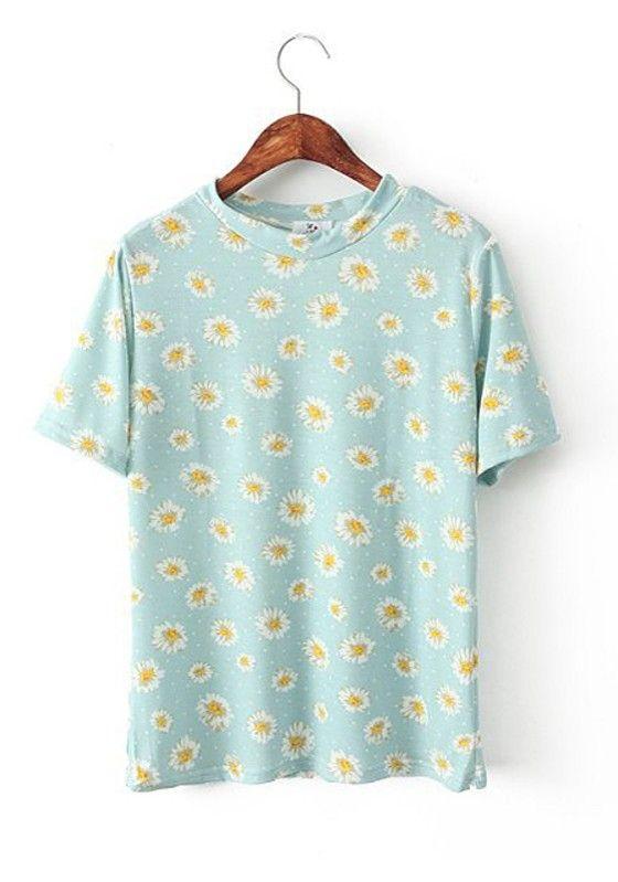 Light Blue Flowers Short Sleeve Wrap Cotton T-Shirt
