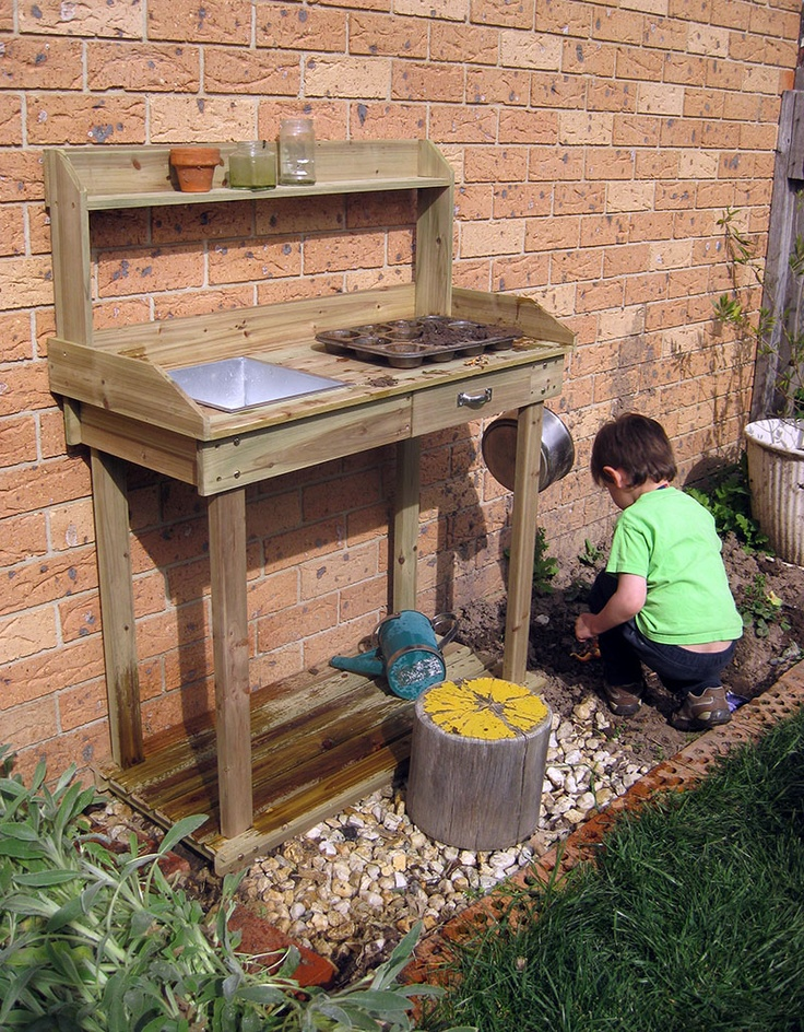 Happy Whimsical Hearts: Mud kitchen = science station ideas