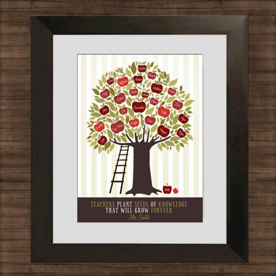 Personalized gift for Teacher's Classroom - Customized Apple Tree - Last Minute Gift - Digital File