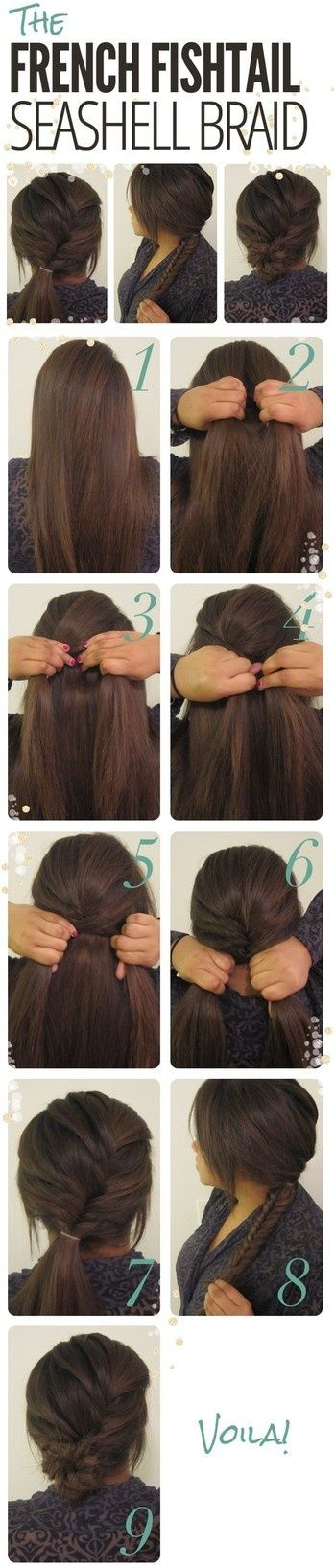 French fishtail hair tutorial. So creative and easy and three different hairstyles come out of it!