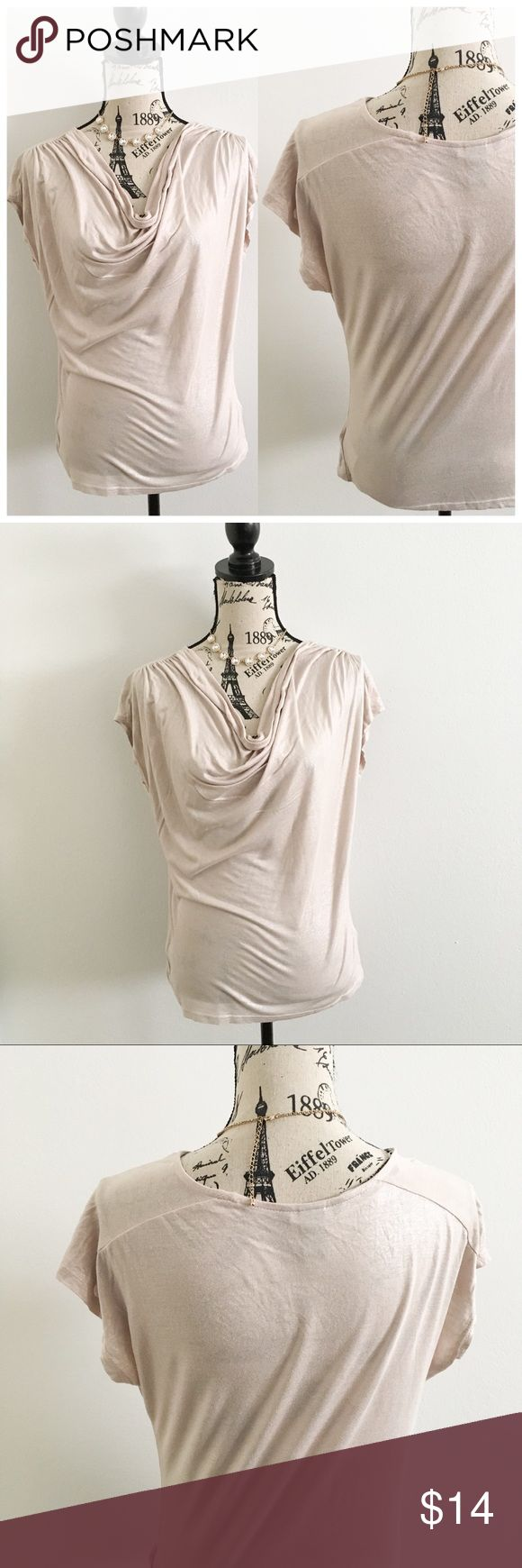 """H&M Champagne Shimmery Top ✦   ✦{I am not a professional photographer, actual color of item may vary ➾slightly from pics}  ❥chest:20.5"""" ❥waist:18"""" ❥length:22.5"""" ❥sleeves:7.5"""" ➳material/care:viscose/machine wash ➳fit:true in my opinion/fabric has some give to it  ➳condition:gently used   ✦20% off bundles of 3/more items ✦No Trades  ✦NO HOLDS ✦No lowball offers/sales are final  ✦‼️BE A RESPONSIBLE BUYER PLS ASK QUESTIONS/USE MEASUREMENTS TO MAKE SURE THIS WILL WORK FOR {YOU} BEFORE PURCHASING…"""