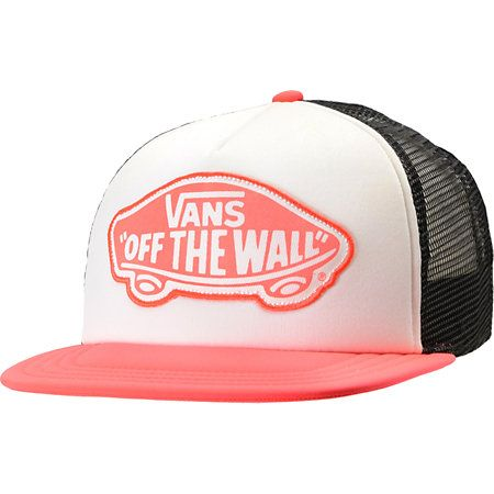 California skate style plus a little bit of neon go a long way with the Vans Neon Coral Trucker hat! With a white padded front and black mesh back you can feel the cool breeze and stay chill all day with the neon coral Vans original logo at front, flat bill, and snapback adjustment at back. This girls trucker style snapback hat is a great fit for anyone so bring the beach to you in the Vans Neon Coral snapback hat.