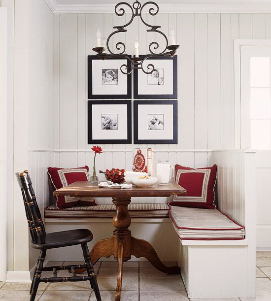 Adorable breakfast nook! Too perfect. More inspired dining rooms: http://www.bhg.com/rooms/dining-room/themes/small-space-dining-room-decorating-ideas/