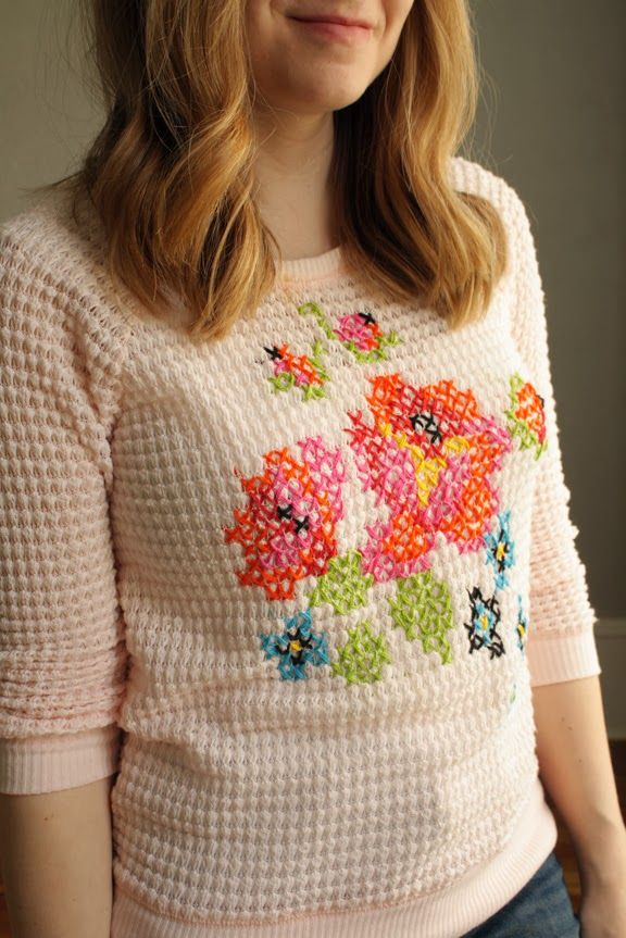 DIY: Floral Cross Stitch Sweater: Stitches Sweaters, Embroidery Clothing Sweaters, Diy Clothing, Crosses Stitches, Fall Fashion, Diy Details, Cross Stitches, Floral Crosses, About Chic