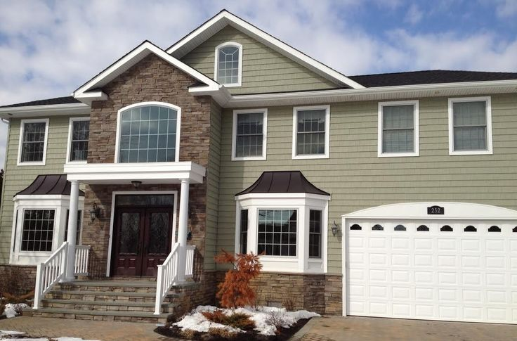 Mitten Siding In Green With Stone Accents See More At