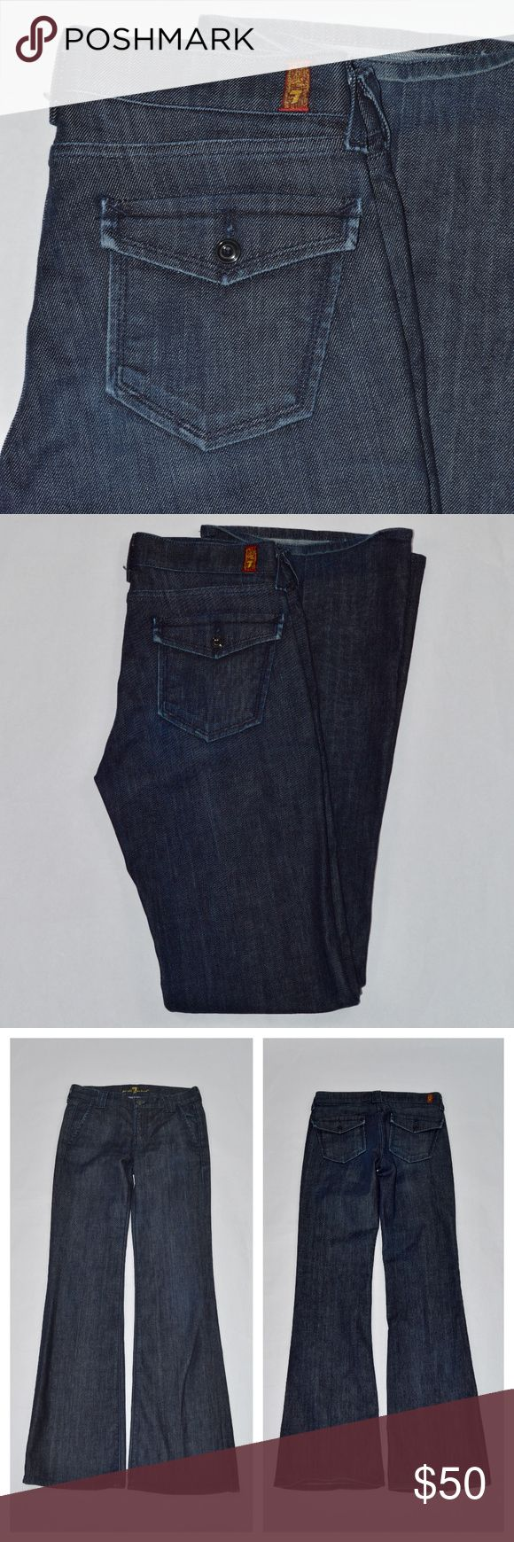 {74AMK} Dark-wash Lightweight Jeans w Flap Pocket Great pair of jeans from 7 for All Mankind. It features a dark wash with a button flap on the pocket. Size: 27. No fraying on the hems.  *170926_04_0533gc 7 For All Mankind Jeans Boot Cut