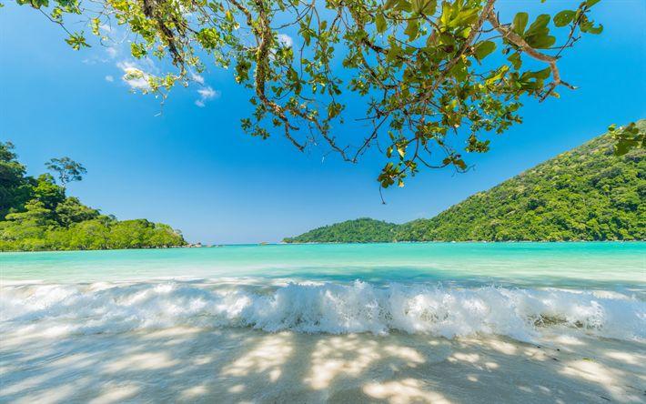 Download wallpapers tropical island, ocean, summer, travel, palms, seascape, azure, blue Lagoon