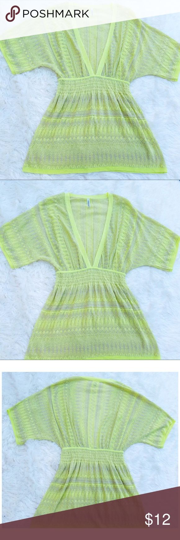 Victoria's secret neon green swim cover up xs/s Neon green with silver cover up  Gently used  Victoria's secret  Size : xs/s  Bundle to save 15% 💵❗️  OPEN TO OFFERS 🤗  Follow & Tag:  IG : ShopBellaVictoria  Fb: BellaVictoria Victoria's Secret Swim Coverups