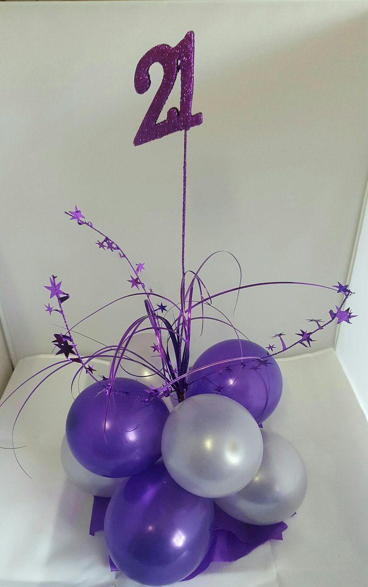 21st birthday balloon Centerpiece airfilled #partysolutions #huntervalley