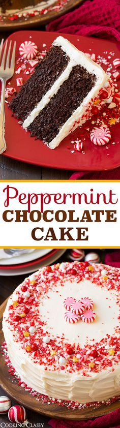 Peppermint Chocolate Cake with Peppermint Buttercream Frosting - This cake is seriously DREAMY! It tastes like York Peppermint Patties and Junior Mints but in cake form!