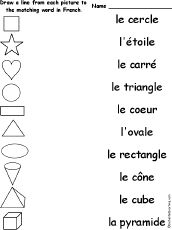 Match French shape words and pictures