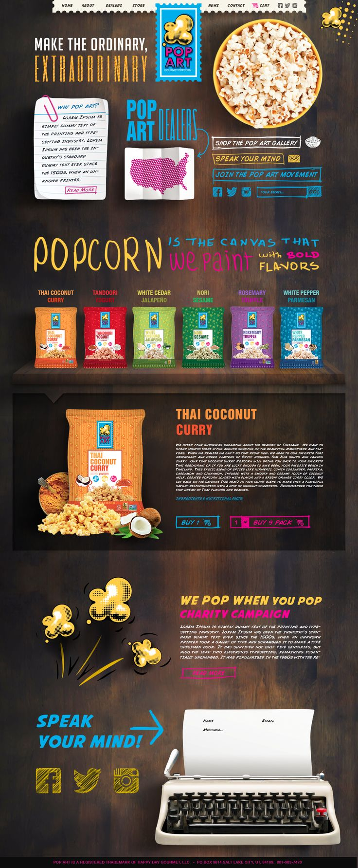 Redesign a unique website for a fun gourmet popcorn company! Website design #242 by DevTeamExpress