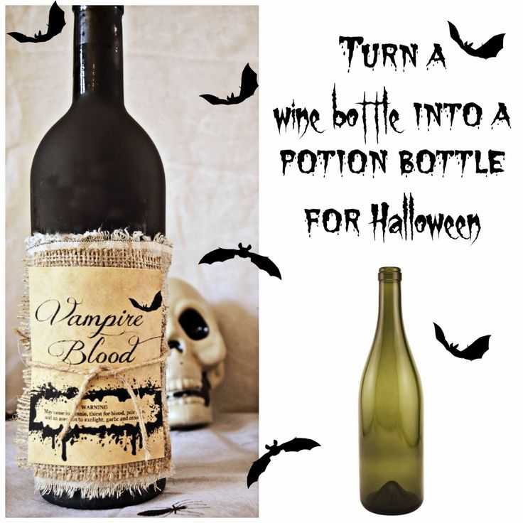 Turn a wine bottle into a potion bottle from @sliceofsuburbia