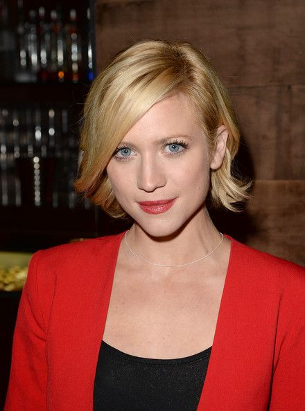 Brittany Snow Short Hairstyles: Lovely Chic Bob with Side Swept Ffinge and Flapped Out End