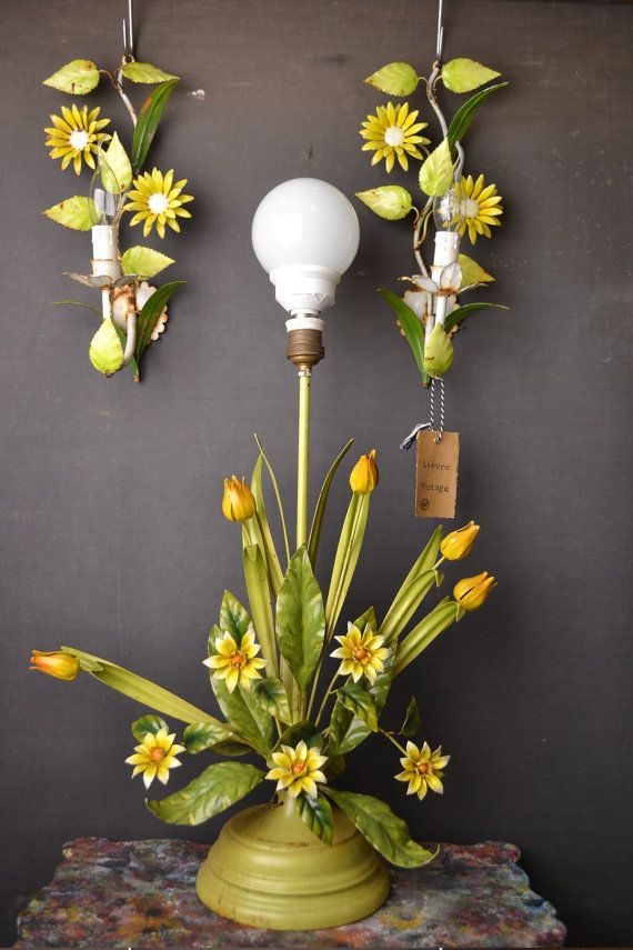 Standing Tole Flower Lamp Including 2 Sconces (around 1930/40) Made Out Of Images