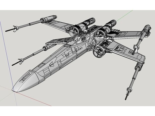 1:24th Scale model of X-Wing Star Fighter that is 52cm or 20.5 inches in length. This is a modified version of Mister-X's X-wing fighter model, even though the droid strip and back plate are almost completely redone by me, because Mister-X has peculiar tendency to use 7 sided polygon for nuts and bolts, which I changed to 6 sided ones. If you examine the original Mister-X's model and this model side by side, you will see numerous minor differences. The draft drawings are by B.J.S. and...