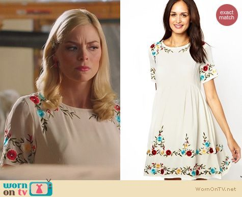 Lemon's white dress with leaf and flower embroidery on Hart of Dixie.  Outfit Details: https://wornontv.net/22523/ #HartofDixie
