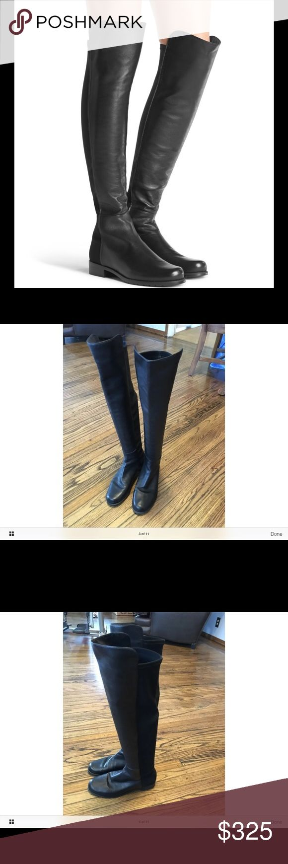 5050 Boot Has some wear. One boot seems to have more wear than the other. Fits true to size. Absolutely stunning boots, comfy and no zip. These are pull on and can adjust to any leg Stuart Weitzman Shoes Over the Knee Boots