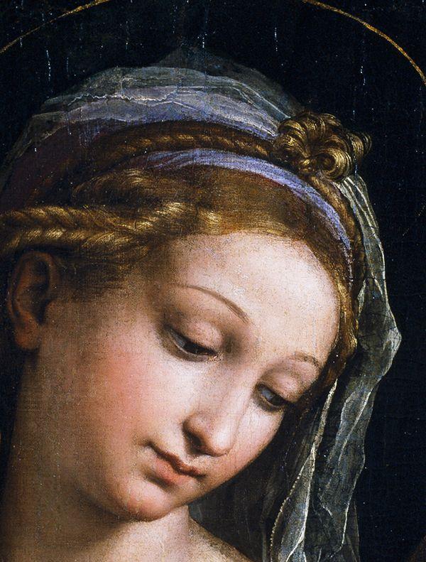 Raphael (Raffaello Sanzio da Urbino) ~ Virgin of the Rose (detail), 1516