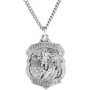 St Michael Shield Solid Sterling Silver Protect Us Medal md:1036:s
