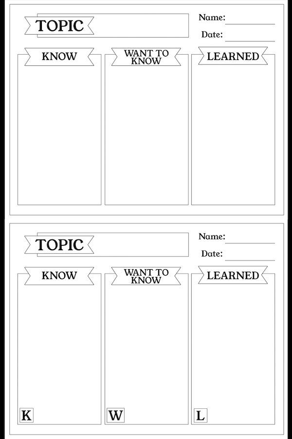 Free Kwl Chart Printable Graphic Organizer Diy And Crafts
