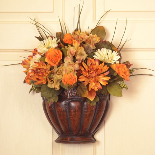 50 Amazing Fall Flowers Décor Ideas For Your Home : 50 Cool Fall Flowers  Décor With White Wooden Wall And Hanging Fall Flower Pot