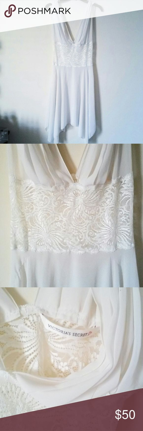 Victoria's Secret vintage grecian lace dress/slip Be am  angel in this Victoria's Secret grecian lace dress.  ♡ gathered sleeves ♡ Romantic see through lace on the waist-line ♡ beautiful semi-sheer chiffon, between white and creme ♡ flowing asymmetrical hemmed bodice  ♡ older, out of stock piece  No trades, reasonable offers considered Victoria's Secret Intimates & Sleepwear Chemises & Slips