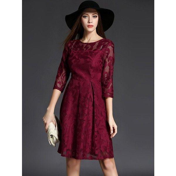 3 4 Sleeve Crochet Flare Dress ($29) ❤ liked on Polyvore featuring dresses, purple dress, macrame dress, flare dress, crochet sleeve dress and flared dresses