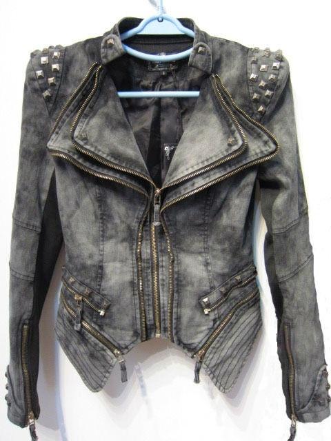 $129- Blue Jean Denim Multi Zipper Pyramid Stud, Vintage, Punk Rock, Post Apacoclyptic