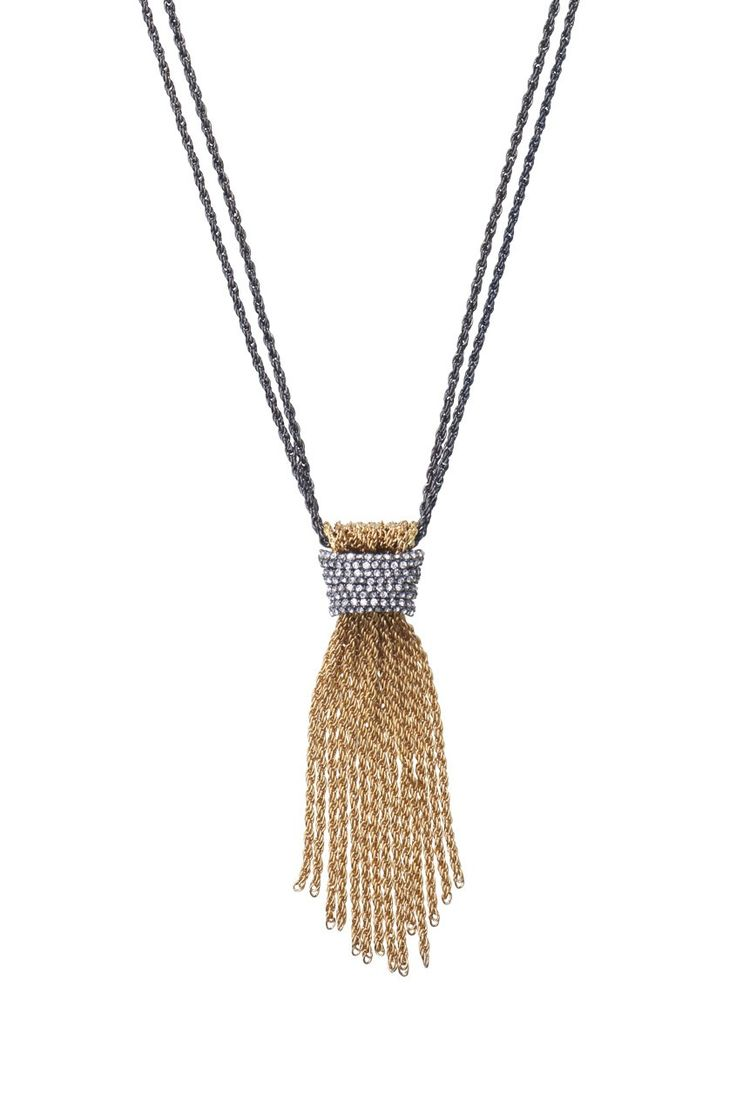 Windsor Tassel Necklace from Stella & Dot. Pave Czech glass stones illuminate an intricate gold and hematite plated windor-style brass knot on steel chains.: Windsor Tassel, Czech Stone, Jewelry, Gold Knot, Tassels, Necklaces, Stella Dot, Tassel Necklace