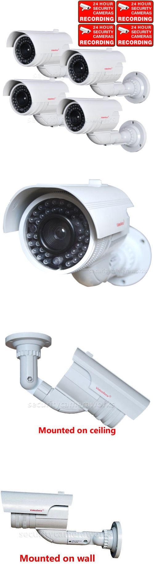 Dummy Cameras: 4 Dummy Surveillance Security Camera Bullet Cctv Fake Ir Led Flashing Light Bbg BUY IT NOW ONLY: $63.9