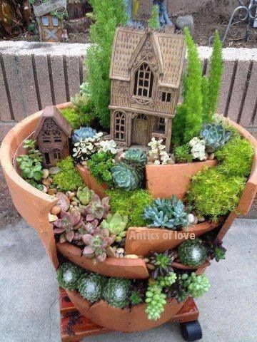 jardim miniatura reaproveitando pedaços de cerâmica