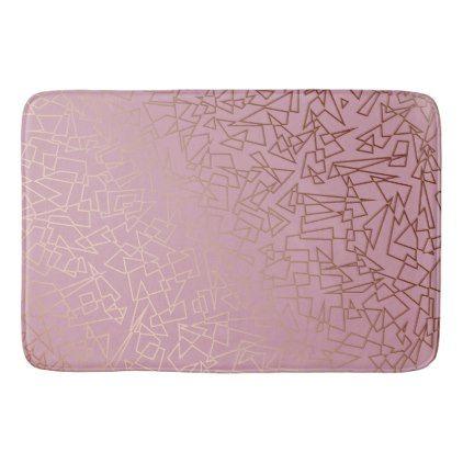 Elegant stylish rose gold geometric pattern grey bath mat - elegant gifts gift ideas custom presents