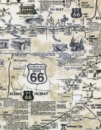 Route 66 Map Fabric (Natural and Black)